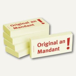 Haftnotizen bedruckt: Original an Mandant!