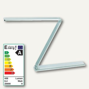 Alco LED-Arbeitsplatzleuchte 9155, Doppelarm, flexibel, faltbar, silber, 9155