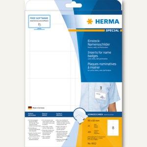 Herma Einsteck-Namensschilder, 90 x 60 mm, A4-Karton, 200 Stück, 9012