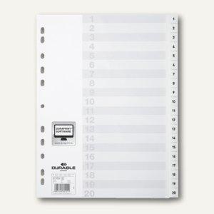 Register DIN A4, geprägte Taben, 1-20, PP, 20-teilig + Deckblatt, weiß, 6163-02