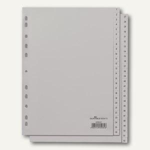 Register DIN A4, geprägte Taben, 1-52 (2 Abläufe), PP, 52-teilig, grau, 6504-10