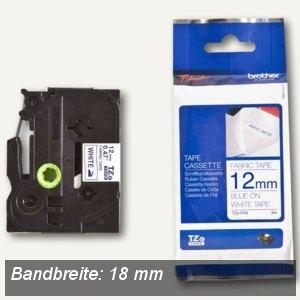 Brother Beschriftungsband 18 mm, Textilband, blau auf weiß, TZE-FA4B