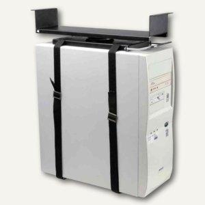 PC-Halter mit Gurtsystem für Untertisch-Montage