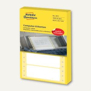 Zweckform Computer-Etiketten, endlos, 88.9 x 35.7 mm, 1-bahnig, 1.000 Stück,3611
