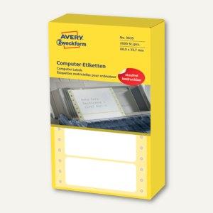 Zweckform Computer-Etiketten, endlos, 88.9 x 35.7 mm, 1-bahnig, 2.000 Stück,3635