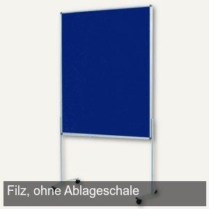 OWB Pinwand competent, Filz, Standbeine/Rollen, 118x149 cm, dunkelblau, M83401