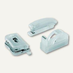 Alco Büro-Set, Acryl, Hefter/Locher/Abroller, gefrostet, weiß, 4459-10