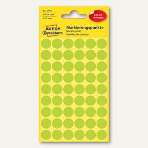 Zweckform Markierungspunkte, rund, Ø 12 mm, leuchtgrün, 270 Stück, 3149