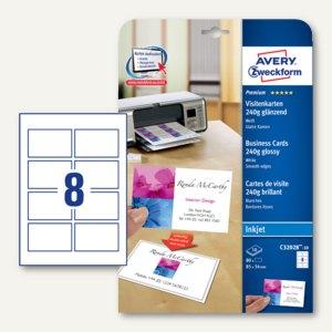 Zweckform Visitenkarten, 85x54mm, 240g/m², glänzend, weiß, 80St., C32028-10
