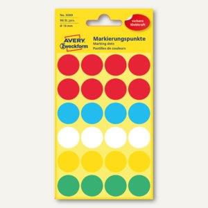 Zweckform Markierungspunkte, rund, Ø 18 mm, farbig sortiert, 96 Stück, 3089