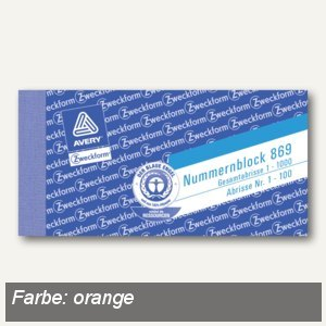 Zweckform Nummernblocks 1-1.000, orange, 10 Blöcke/Packung, 869-10-1