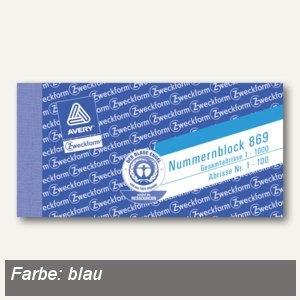 Zweckform Nummernblocks 1-1.000, blau, 10 Blöcke/Packung, 869-10-4