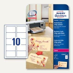 Visitenkarten, 85 x 54 mm, 220g satiniert, ultraweiß, Laser, 250 St., C32025-25