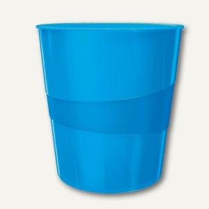 LEITZ Papierkorb WOW - 15 Liter, (H)324 x (Ø)290 mm, blau-metallic, 5278-10-36