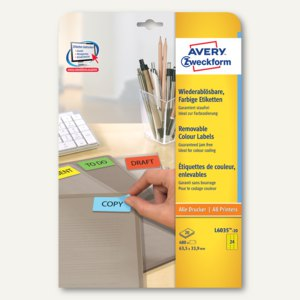 Universal-Etiketten, 63.5 x 33.9 mm, Rand rundum, gelb, 480 St., L6035-20
