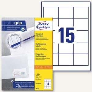 Zweckform Universal-Etiketten, 64 x 50 mm, Rand, weiß, 1.500 St., 3672