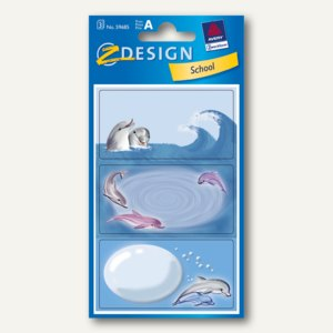 """Zweckform Z-Design Buchetiketten """"Delfin"""", Papier, (B)76 x (H)120 mm, 9St.,59685"""