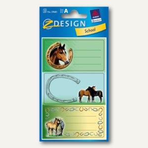 """Zweckform Z-Design Buchetiketten """"Pferde II"""", Papier, B76 x H120 mm, 9St., 59681"""