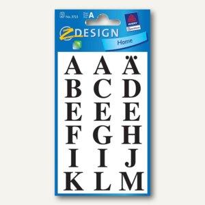 Zweckform Z-Design Buchstaben-Sticker, schwarz auf transp., 36 Stück, 3723