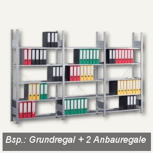 Meta Büro Steckregal Compact, 250x100x30cm, Anbauregal, 7 Böden, verzinkt,178011
