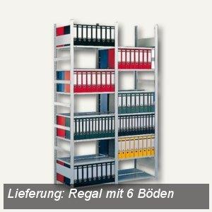 Meta Büro Steckregal Compact, 220x125x60cm, Grundregal, 6 Böden, verzinkt,177366