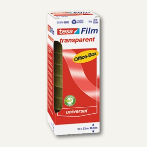 Tesa Film transparent, 33 m x 15 mm, (Ø)26 mm, 10er-Box, 57371-00002