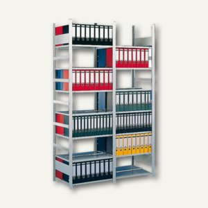 Meta Büro Steckregal Compact, 250x125x60cm, Grundregal, 7 Böden, verzinkt,177372