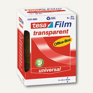 Tesa Film transparent, 66 m x 15 mm, (Ø)76 mm, 10er-Box, 57372-00002