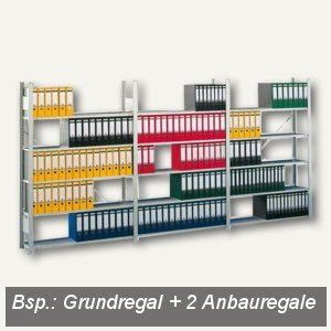 Büro Steckregal Compact, Anbauregal, 220x125.6x33.6cm, 6 Böden, lichtgrau, 83164