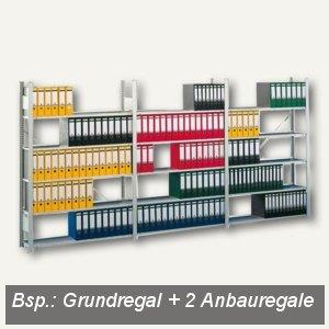 Büro Steckregal Compact, Grundregal, 250x130.6x63.6cm, 7 Böden,lichtgrau, 178030