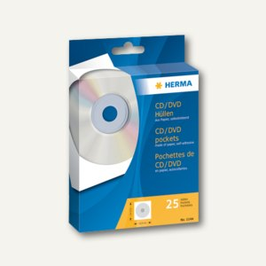 Herma CD/DVD-Hüllen, 124 x 124 mm, Papier, weiß, 25 Hüllen, 1144