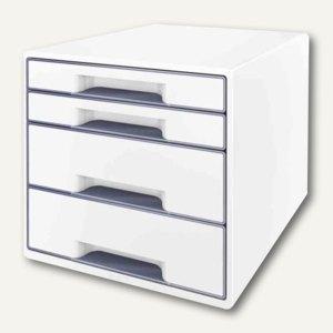 LEITZ Schubladenbox WOW CUBE, 4 Schübe, 323x315x397mm, perlweiß/grau, 5213-10-01
