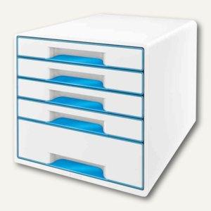 LEITZ Schubladenbox WOW CUBE, 5 Schübe, 323x315x397mm, perlweiß/blau, 5214-10-36
