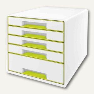 LEITZ Schubladenbox WOW CUBE, 5 Schübe, 323x315x397mm, perlweiß/grün, 5214-10-64