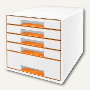 Schubladenbox WOW CUBE, 5 Schübe, 323x315x397mm, perlweiß/orange, 5214-10-44