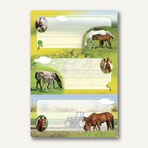 """Buchetiketten Vario """"Pferde"""", 76 x 35 mm, beglimmert, 6 Stück, 5568"""