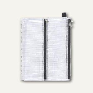Mehrzweck-Reißverschluss-Beutel, DIN A6/A4,4 Kam.,Abheftrand,schwarz,10St., 4044