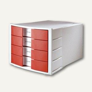 HAN Schubladenbox IMPULS, A4-C4, 4 Schübe, rot, 1010-X-17