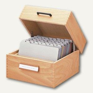HAN Karteikasten aus Holz , DIN A7 quer, für 1.500 Karten, 1007