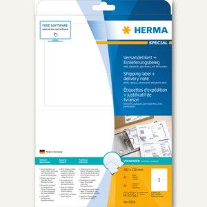 Versand-Etiketten SPECIAL, Einlieferungsbeleg, 182 x 130 mm, weiß, 25 Stück, 831
