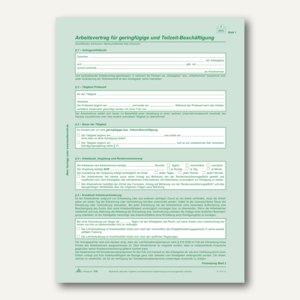 """RNK Arbeitsvertrag """"geringfügig-/Teilzeit-Beschäftigte"""", 2x2 Blatt, 10 Stück,518"""
