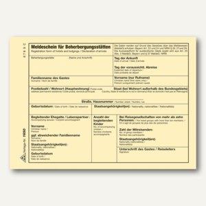 Meldeschein Beherbergungsstätten Bayern/Nordhrein-Westfalen