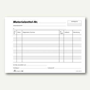 Materialzettelblock Baumaterial