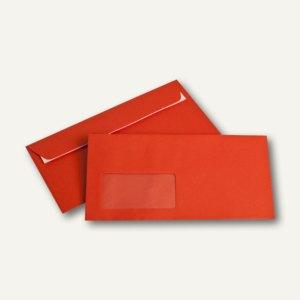 Briefumschläge DIN C6/5, Fenster, 100 g/m², haftklebend, intensivrot, 250 Stück