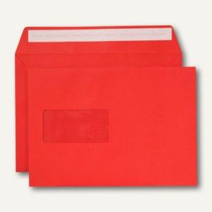 Briefumschlag, C5, haftklebend, Fenster, 120 g/qm, intensivrot, 500 Stück