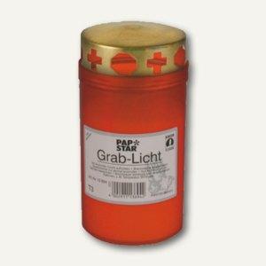 Grablicht T3, rote Hülle, Golddeckel, Ø 6.4 cm, H 12.5 cm, 15691