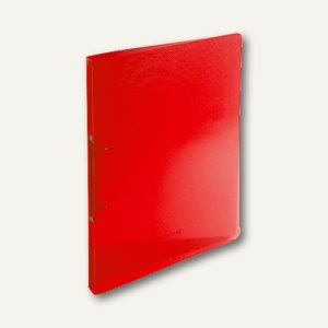 Ringbücher Kristall DIN A4, rot-transparent, 2-Ringe, 20 mm Rücken, 500µ, 54185E