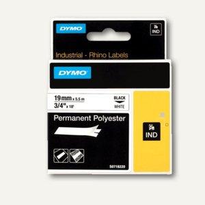 Dymo Rhino Etikettenband, 19 mm x 5.5 m, Polyester, schwarz/weiß, S0718220