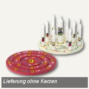 """Papstar Kerzenringset, Holz, rund, Ø 18 cm, rot/weiß, """"sortiert"""", 19526"""