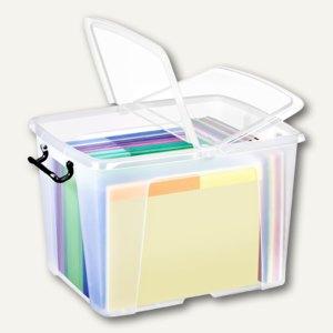 Strata Mehrzweckbox / 40 Liter, PP, Deckel, stapelb., 395x498x329mm, transparent